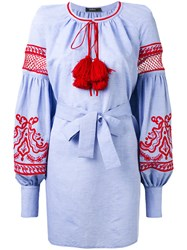 Wandering Embroidered Poet Sleeve Tunic Women Cotton 42 Blue