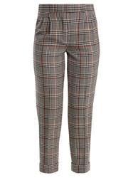 Amanda Wakeley Prince Of Wales Checked Stretch Wool Trousers Black Multi