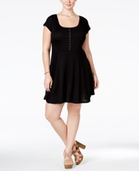 Love Squared Plus Size Short Sleeve Fit And Flare Dress Black