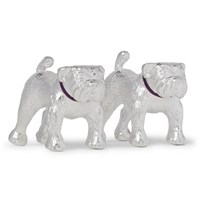 Asprey Bulldog Sterling Silver And Enamel Cufflinks Silver