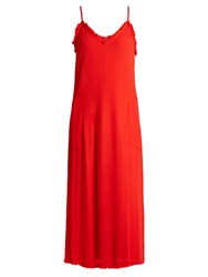 Raquel Allegra V Neck Frayed Crepe Slip Dress Red