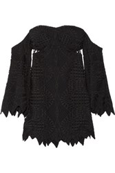 Jonathan Simkhai Off The Shoulder Guipure Lace And Crepe Top Black