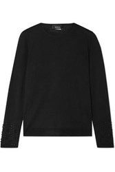 Akris Bead Embellished Cashmere And Mulberry Silk Blend Sweater Black
