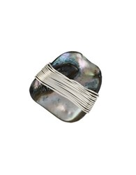 Robert Lee Morris Set Sail Wire Wrapped Shell Stone Ring Blue