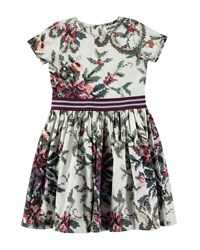 Molo Candy Short Sleeve Cross Stitch Floral Dress Size 2T 12 White