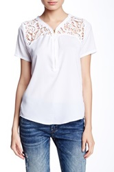 Fate Crocheted Accent Blouse White