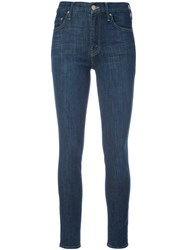 Mother High Waisted Looker Jeans Women Cotton Polyester Spandex Elastane 30 Blue
