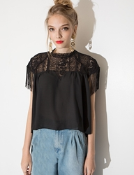 Pixie Market Fringe Crochet Top