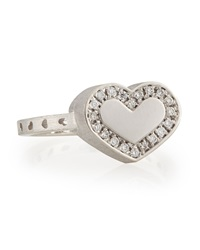 Nanis Brushed 18K White Gold Diamond Heart Ring Size 7
