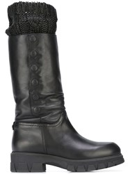 Twin Set Knit Trimmed Boots Black