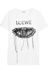 Loewe Embroidered Printed Stretch Cotton T Shirt White