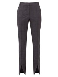 Tibi Checked Wool Blend Slim Leg Trousers Dark Grey