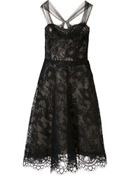 Monique Lhuillier Mesh Flower Lace Dress Black