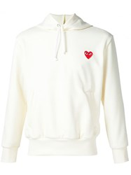 Comme Des Gara Ons Play Heart Application Hoodie White