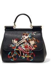 Dolce And Gabbana Sicily Medium Embellished Appliqued Textured Leather Tote Black