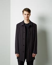 Maison Martin Margiela Creased Cotton Coat Dark Blue