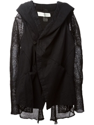 Isabel Benenato Combo Crochet Hooded Jacket Black