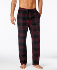 Perry Ellis Men's Plaid Fleece Pajama Pants Black Red