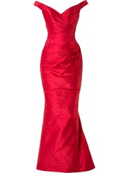 Romona Keveza V Neck Gown Red