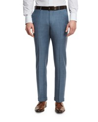 Ermenegildo Zegna Sharkskin Wool Flat Front Trousers Light Blue
