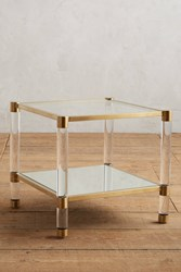 Anthropologie Oscarine Lucite Mirrored Coffee Table Rectangle Gold