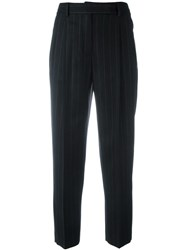 Alberto Biani Pinstriped Pleated Tapered Trousers Black