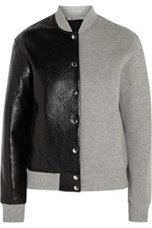 Alexander Wang Leather And Neoprene Bomber Jacket Gray