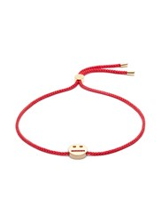 Ruifier 'Thoughtful' 18K Yellow Gold Vermeil Charm Cord Bracelet Metallic Red