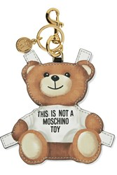 Moschino Printed Textured Leather Keychain Brown