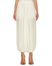 Chloe Pleated Georgette Harem Pants White