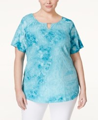 Jm Collection Woman Jm Collection Plus Size Embellished Keyhole Blouse Only At Macy's Turquoise Pool