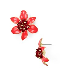Kate Spade New York Lovely Lillies Statement Stud Earrings Coral Multi