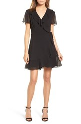Lush Colie Ruffle Wrap Dress Black