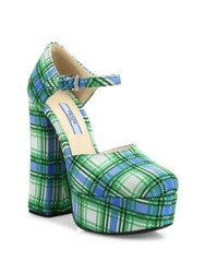 Prada Plaid Ankle Strap Platform Pumps Azzurro