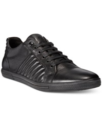 Kenneth Cole Snap Down Leather Sneakers Men's Shoes Black