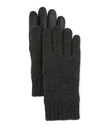 Ugg Knit Touchscreen Gloves With Conductive Leather Palm Gray