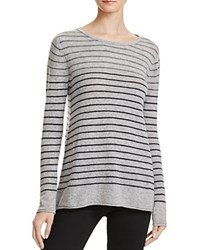 Velvet By Graham And Spencer Striped Cashmere Sweater Heather Grey