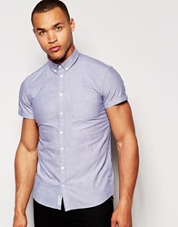 Minimum Oxford Shirt With Short Sleeves Dustyblue