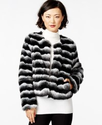 Bar Iii Striped Faux Fur Jacket Only At Macy's Black Combo