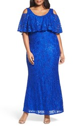 Marina Plus Size Women's Sequin Lace Cold Shoulder Long Dress Royal