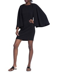 Tracy Reese Solid Caped Shift Dress Black