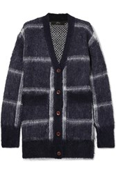 J.Crew Lian Checked Brushed Knitted Cardigan Navy