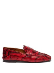 3140d9ba04d Isabel Marant Fezzy Snakeskin Effect Leather Penny Loafers Red Multi