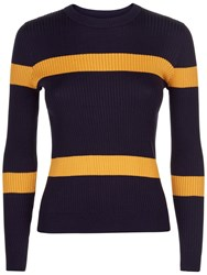 Jaeger Ribbed Stripe Cropped Sweater Navy