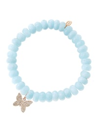 Sydney Evan Aquamarine Beaded Bracelet With Diamond Butterfly