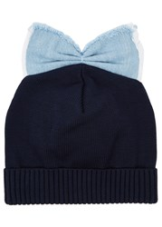 Federica Moretti Black Bow Embellished Cotton Beanie Blue