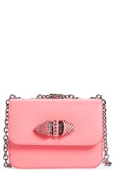 Christian Louboutin 'Small Sweet Charity' Spiked Calfskin Shoulder Crossbody Bag Pink Dolly Silver