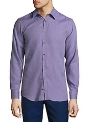 Report Collection Textured Cotton Casual Button Down Shirt Lavender
