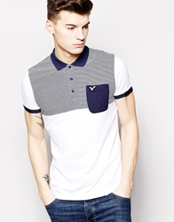 Voi Jeans Polo Shirt With Stripe Panel Pocket White
