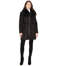 Cole Haan Signature Faux Shearling With Toscana Trim Black Women's Coat